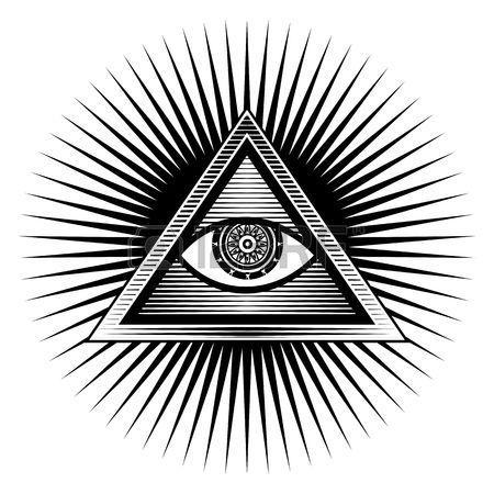 Illustration Poster Design Element unterschreiben gyptisches Auge in einem Dreieck auf einem wei en  Lizenzfreie Bilder