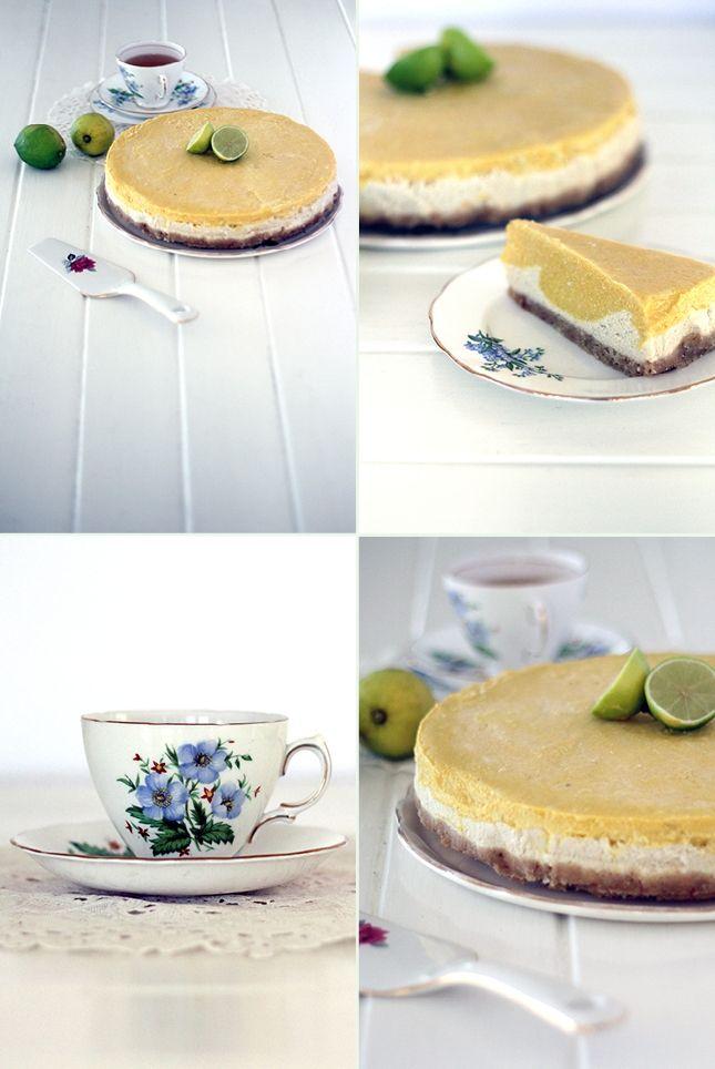 Macadamia Crusted Mango & Lime Raw 'Cheesecake', Renée Naturally #raw  #glutenfree   www.reneenaturally.com/blog