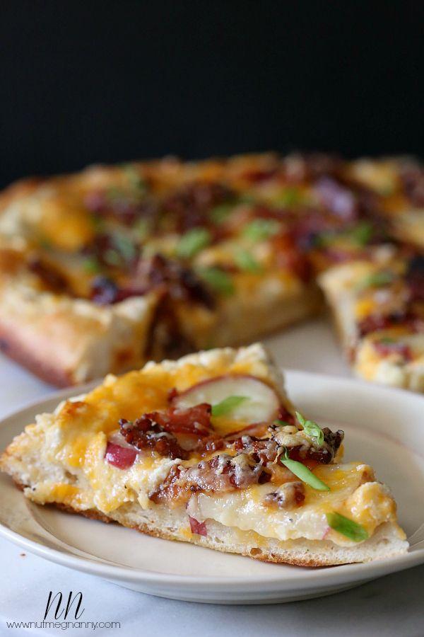 Loaded Baked Potato Pizza via The Baker Chick