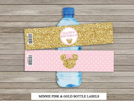 Minnie Inspired Water Bottle Label Pink and Gold Water Bottle