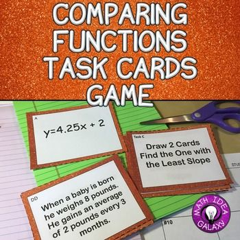 Comparing functions task cards are a set of function cards and a set of task cards that you can using comparing functions in slope intercept form. There are four representations of slope intercept form including equations, graphs, tables, and written descriptions. These sets of cards provide an endless variety of questions & tasks that will get students great practice and a wonderful alternative to worksheets!