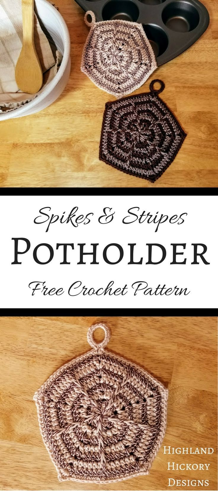 Crochet the Spikes and Stripes Potholder pattern for functional and stylish kitchen accessories! They have a double thickness and minimal holes to protect your hands from the heat when using your oven. There is also a photo tutorial! #crochet #crochetpattern #diy #kitchen