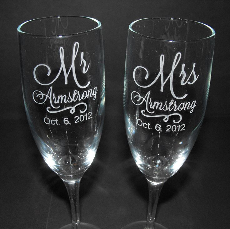 Personalized Champagne Flutes - CUSTOM ENGRAVED - wedding glasses - toasting glasses