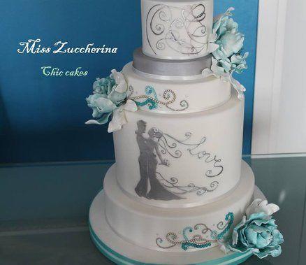 Tiffany peony wedding cake