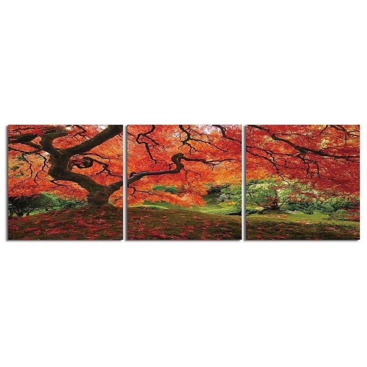 "Elementem Photography: ""Japanese Maple"" Photography Print 3-Panel Panoramic Wall Art"