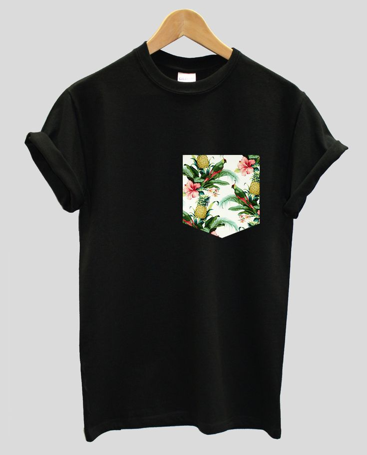 Real Stitched Pineapple and Parrots Print Pocket T-shirt Hipster Indie Swag Dope Hype Black White Mens Womens Cute Exotic Pocket Shirt by IIMVCLOTHING on Etsy