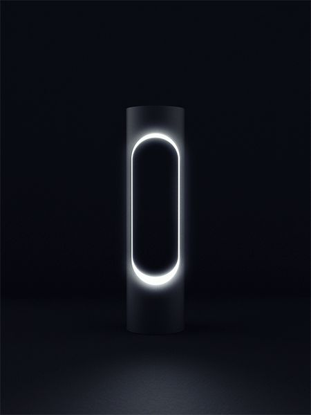 Illuminated bollard with elongated hole which inner surface contains multiple LED lights. The variable control of the light offers a diversity of appearance and applications for the cityscape. By Gerhardt Kellerman