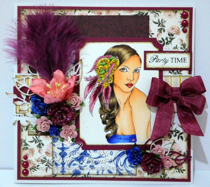 """Digi stamp """"Cameo 13"""". Digi Stamp coloured with Copic Markers: Skin: E0000, E000, E01, E11 Hair: E41, E43, E47, E49 Eyes: E21, E23, E25 Mouth: R14, R17, R59 Dress: B23, B26, B29 Head piece: R81, R83, R85, R89, Y11, Y15, Y17, YG61, YG63, YG67"""