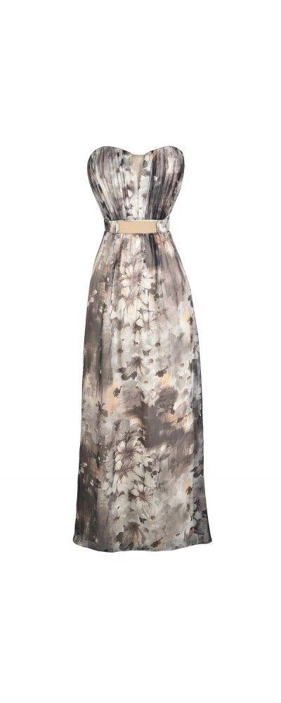Overcast Floral Print Chiffon Belted Designer Maxi Dress  www.lilyboutique.com