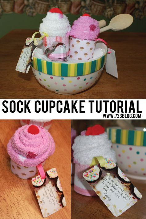 Sock Cupcake Tutorial...seventhritythree..Kim Conner Sock Cupcakes are easy to make and are great as a teacher gift!...