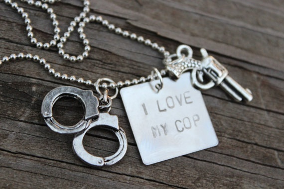 I Love My Cop Hand Stamped Necklace with by CreationsbyKelseyy, $18.00