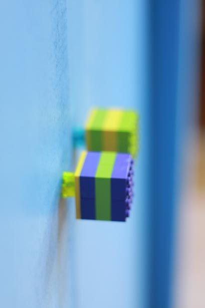 fun and colourful Lego door handles made for Edward's Mezzanine
