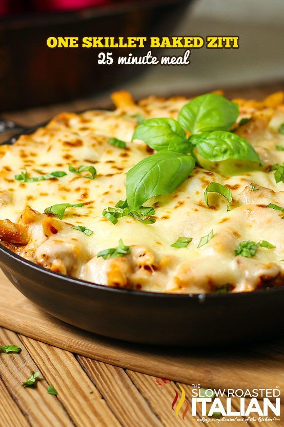 Baked Ziti Skillet in 25 Minutes and One Pan!