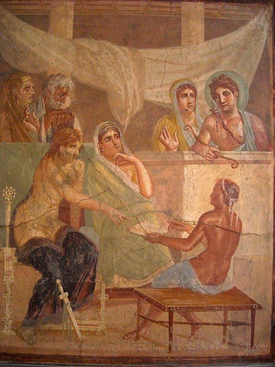 Apollo observes his prophecy being read to Admetus and Alcestis. (House of the Tragic Poet, Pompeii)