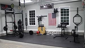 Rogue Fitness Inspired Hyperexten Bench Squat Rack Barbell With Weights Wall Ball And Ring Ropes