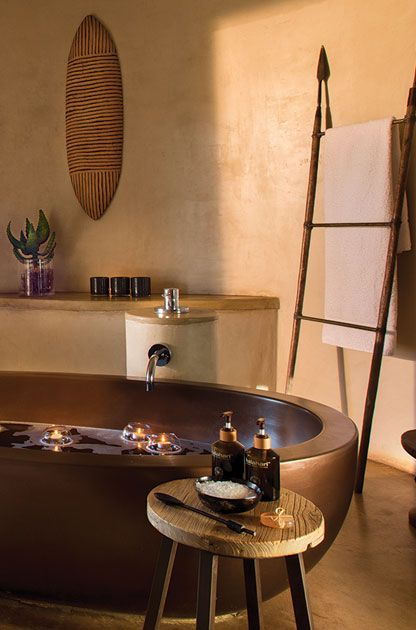 The free-standing stone bath in each Suite is a very good place to breathe in the moment, and reconnect. #MOREplaces #MaratabaSouthAfrica #LuxuryLodge #TentedLodge
