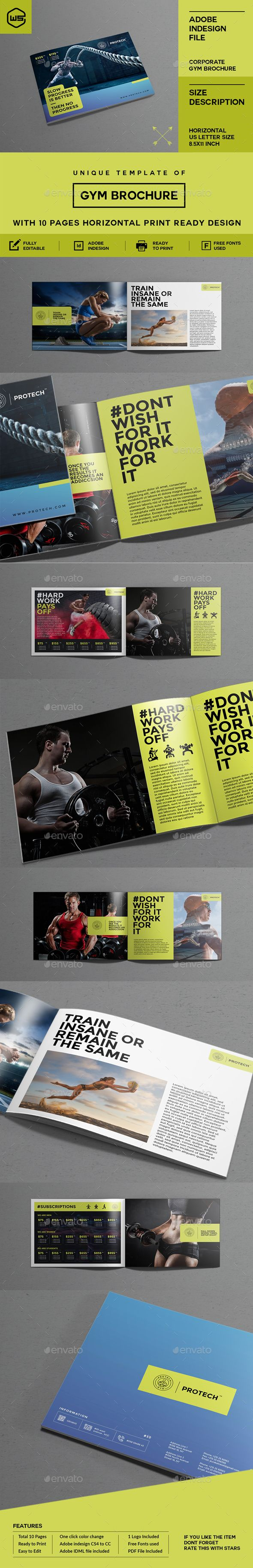 GYM / Fitness Brochure — JPG Image #gym brochure #brochure • Download ➝ https://graphicriver.net/item/gym-fitness-brochure/19251468?ref=pxcr