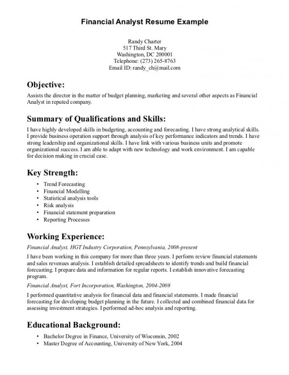 Financial Resume Example | Tomu.Co