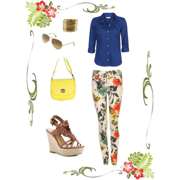 Floral skinny jeans & denim shirt by own-style on Polyvore featuring moda, ONLY, Dr. Denim, GUESS, Cooperative, H&M and Ray-Ban