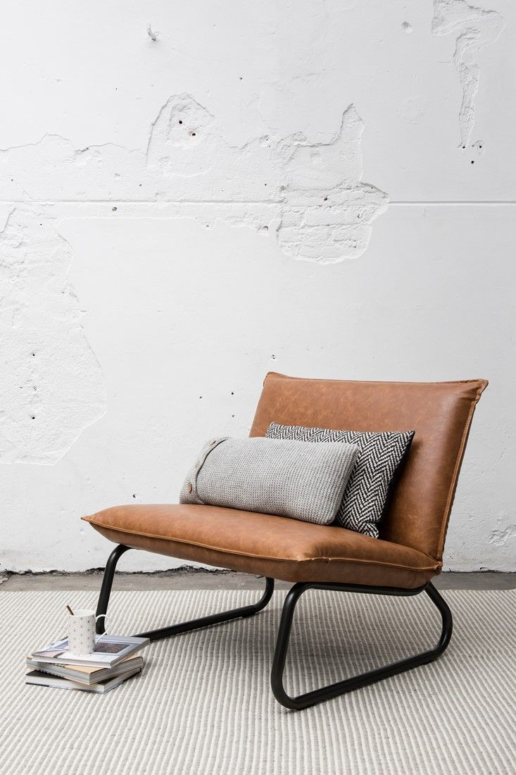 Design Stoel Woonkamer.Fauteuil Yarra 83x90x83 Cm Recycled Leather Cognac 2 Building A