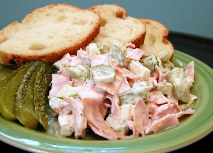 Fleischsalat, German Meat Salad _  My mother used to make this when I was a child. I like using Schinkenwurst, which is a type of bologna studded with ham chunks; it's also known as Bierwurst in some parts of Germany.