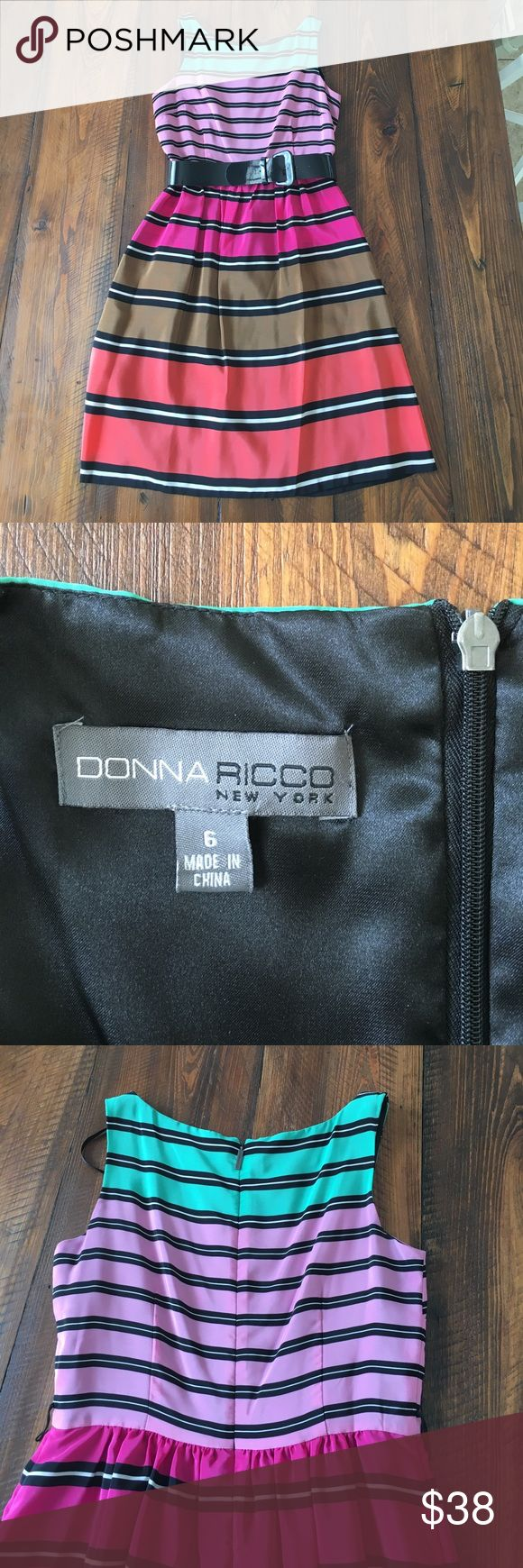 Donna Ricco dress, size 6 Super soft and cute striped dress by Donna Ricco New York in size 6. Dress zips up the back and has a removable belt that comes with, and has hidden pockets. Super cute and fun and in excellent condition Donna Ricco Dresses
