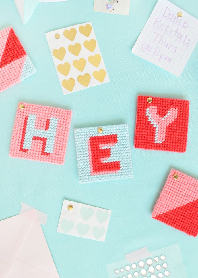 Use bright colors and simple shapes to make these modern cross stitch tags.