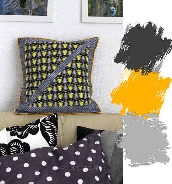 Neue Wohnzimmerkissen: grau, gelb, weiss & schwarz   Kissenhüllen selber nähen   waseigenes.com