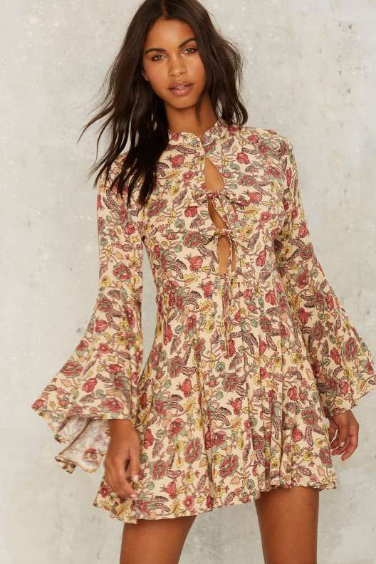Tie the End Floral Dress - Fall Bohemia