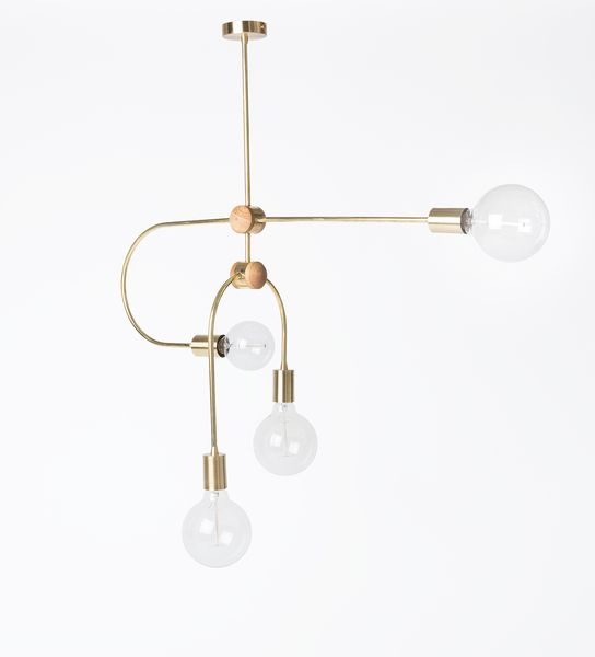 Oak and Brass pendant 4 bulb pendant light. For use with E27 bulb. Bulbs not included. 80cm at widest.