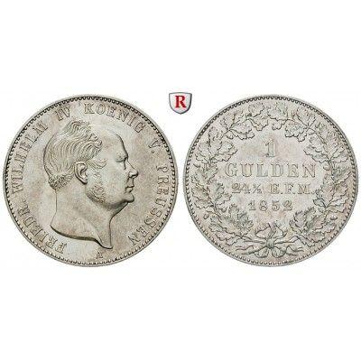 Brandenburg-Preussen, Königreich Preussen, Friedrich Wilhelm IV., Gulden 1852, f.vz: Friedrich Wilhelm IV. 1840-1861. Gulden 1852 A.… #coins