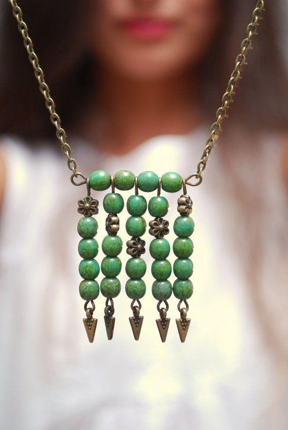 Boho necklace Green beads necklace Tribal necklace by Estibela