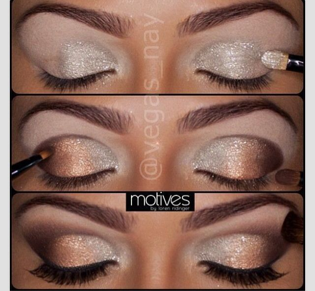 Step by step shimmer eyes