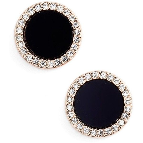 kate spade new york 'in the spotlight' circular stud earrings ($48) ❤ liked on Polyvore featuring jewelry, earrings, polish jewelry, kate spade, black jewelry, 14 karat gold earrings and post earrings