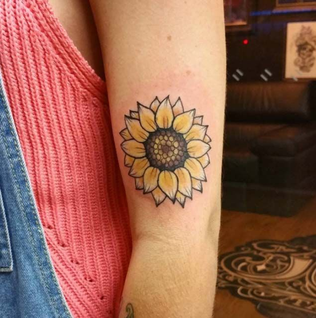 Neo Traditional Sunflower Tattoo by Cheri May Gourlay
