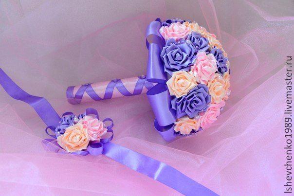 Купить Букет невесты - фиолетовый, свадьба, свадебные аксессуары, свадебный букет, букет невесты