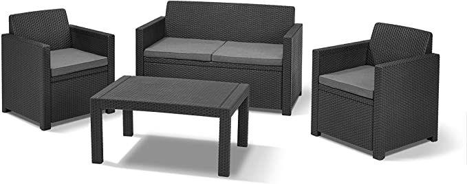 Allibert By Keter Gartenlounge Set Merano Graphit Cool Grey 4tlg Inkl Sitzkissen Kunststoff Sitzkissen Lounge Gartenzubehor