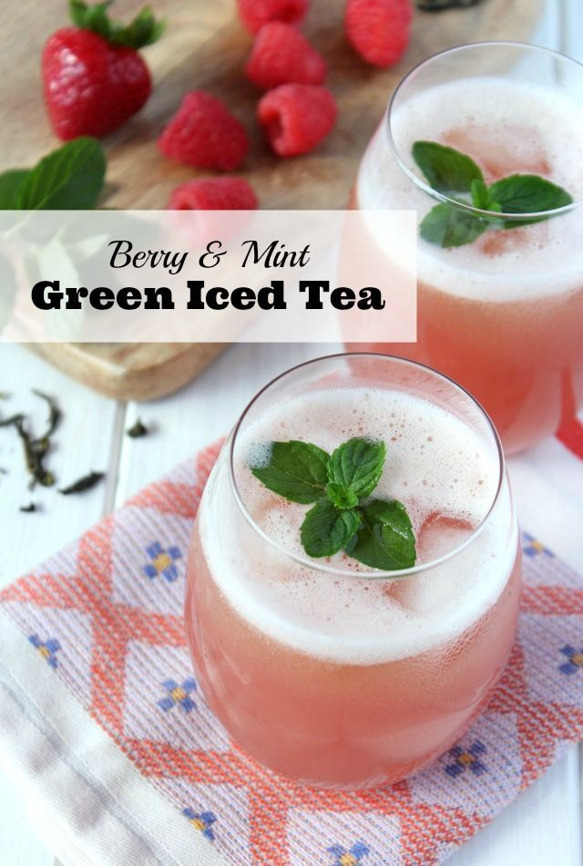 A refreshing and healthy green iced tea recipe made with raspberries, strawberries and fresh mint. The perfect beverage for keeping the family hydrated all summer long! Satori Design for Living