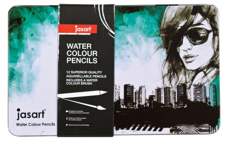 Jasart Water Colour Pencil Design Tin 12, $14.95 (http://www.artshedonline.com.au/jasart-water-colour-pencil-design-tin-12/)