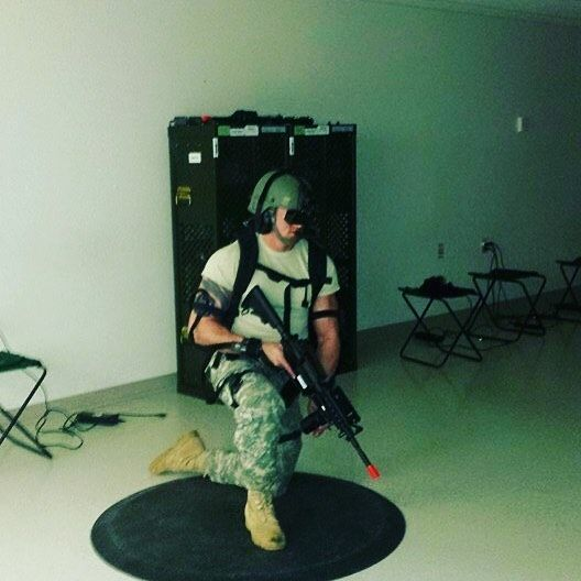 An awesome Virtual Reality pic! 3 days off from the #gym to do my #duty for the state of #wisconsin and the #usa which sometimes when I'm not qualifying with an m16 and freezing my but off as a range safety I'm playing virtual reality battle simulations. Who said being in the #army #nationalguard isn't fun. Loved being the squad leader in charge of holding down the fob under enemy attacks. Couldn't have done it without my teammates and fellow #soldiers.  #military #muscle #rambo #getsome…