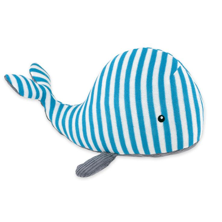 This cute plush whale toy coordinates with the High Seas bedding collection by Just Born. The soft and cuddly whale in blue and aqua is the perfect addition to your little sailors nursery