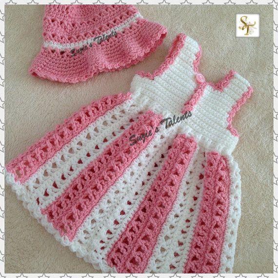 MARIA... Conjunto de vestido y sombrero conjunto bebé vestido