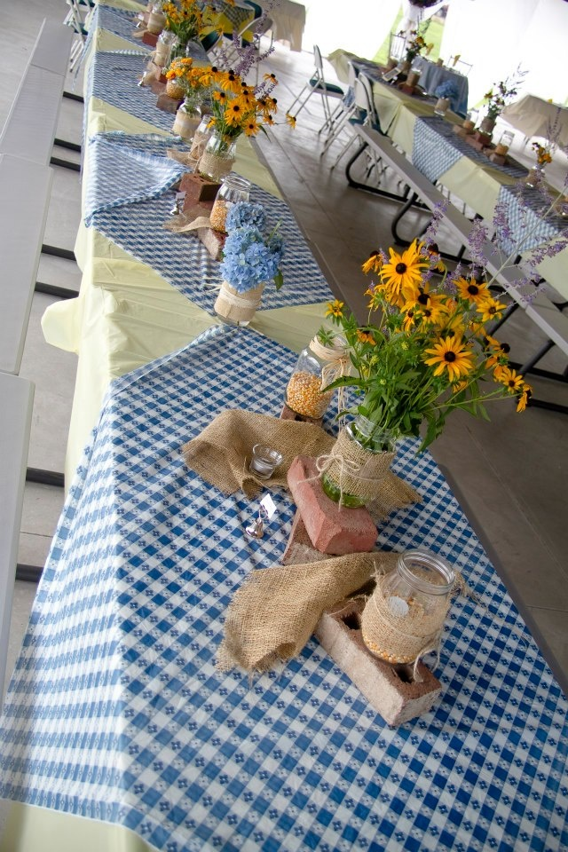Tables decorated for our picnic reception.