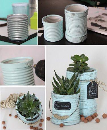 Miniature galvanized bucket planters from cans
