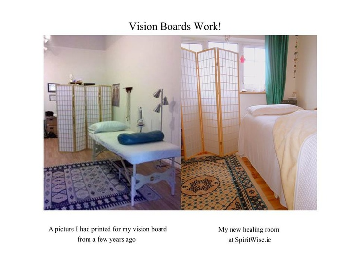 On the left hand side is a picture I printed off a few years ago and put on my vision board; on the right is my new healing room!