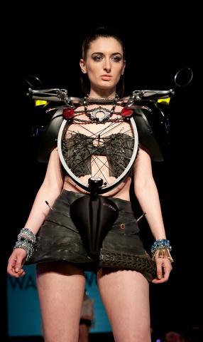 The Recycle Dress  Brighton Fashion Week - bike into outfit - Repurposed Fashion | Trashion | Refashion | Upcycled Fashion