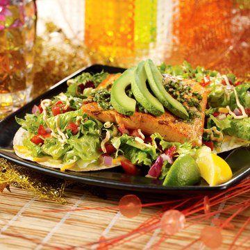 Bahama Breeze Salmon Tostada. Amazing salad I've tried everything  at Bahama breeze