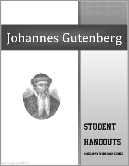Johannes Gutenberg Biography Workbook - Free to print (PDF file). 20 pages. For high school World History and European History students. #renaissance
