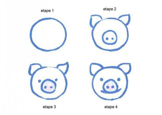 Apprendre à dessiner Une tête de cochon - Dessins simples