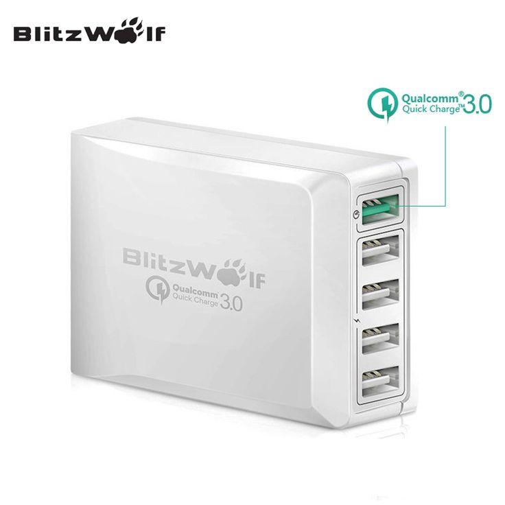 Blitzwolf bw-s7 qc3.0 carga rápida adaptador de cargador usb cargador de teléfono móvil cargador de viaje de escritorio puerto smart 5 para smartphone